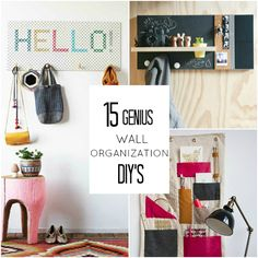 I need to make about a dozen of the cross stitch ones.  15 Genius Wall Organization DIYs