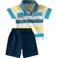 Conjunto Infantil Masculino com Bermuda Sarja Rosa - Milon :: 764 Kids | Roupa bebê e infantil