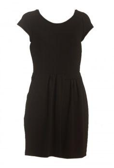 vestido preto com saia em pregas - básico chic