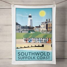 Southwold, Suffolk Tea Towel  £8.00  My sunny Southwold, Suffolk print is now available as a Tea Towel.  Designed by myself and professionally digitally printed and constructed in the UK on 100% Cotton Tea Towel complete with hanging loop. Tea Towel is packaged in branded packaging making it the perfect gift or treat for yourself! Tea Towel Dimensions: 45.5cm x 70cm. Wash care instructions: Wash Max 40 degrees.