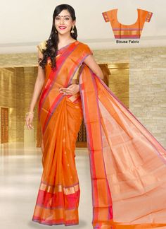 Orange Soft Silk Cotton Saree. Pretty!!