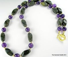 Amethyst and Green Serpentine #Handmade Necklace | TheGemmedGiraffe - Jewelry on ArtFire