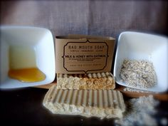 Milk & Honey with Oatmeal Soap #milk #honey #oatmeal #moisturizing #soap #badmouthsoap #handmade #simple #clean #filthy