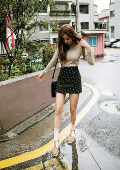 korean fashion, simple look but I love these shoes and socks and how they match the top
