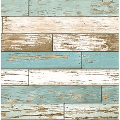 Weathered Texture Turquoise Scrap Wood - Wallpaper by A - Streets Prints