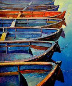 Boats Modern Impressionism Style 26x21 inch by artnikolov on Etsy, $340.00