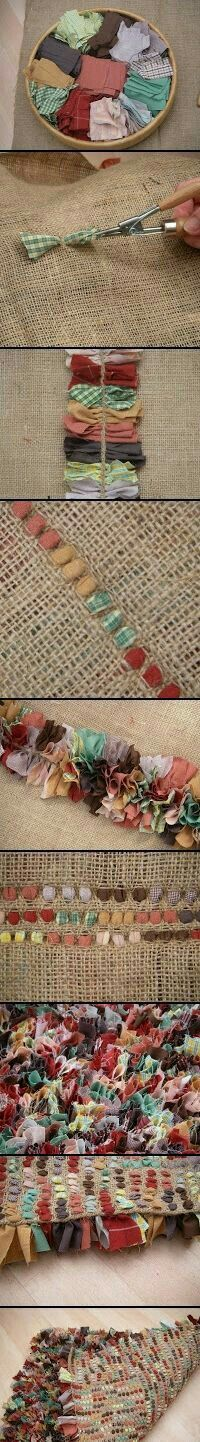 Cute rug out of fabric scraps