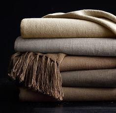 Vintage Linen Throws LIVING ROOM: marine
