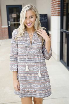 Take the free-spirit boho vibe into fall with this printed ¾ sleeve dress! It is a new fun & darling look for fall!