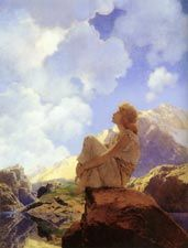 """""""Daybreak"""" by Maxfield Parrish, pages of childhood fairytale images I love to revisit."""