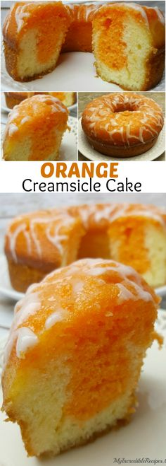 Orange Creamsicle Cake (can make using a boxed cake mix as well) Just Desserts, Delicious Desserts, Dessert Recipes, Yummy Food, Yummy Recipes, Food Cakes, Cupcake Cakes, 7 Up Cake, Bolo Cake