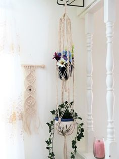 "White macrame plant hanger, double, 2 tier, 3mm NATURAL COTTON, 56"", hanging planter basket, pot holder, large, gift, modern, hippie, indoor, $45.00 USD https://www.etsy.com/listing/264544187/white-macrame-plant-hanger-double-2-tier"