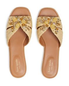 kate spade new york Women's Dock Crystal Sandals Shoes - Bloomingdale's Beige Sandals, Flat Sandals, Shoes Sandals, Sandals Online, Bow Flats, Kate Spade, Feminine, York, Crystals