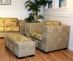 Seagrass Chair and Ottoman - Monterey