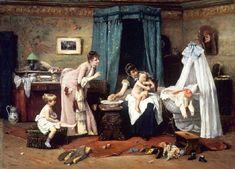 Václav Brožík (Czech artist, 1851-1901) Childrens' Toilette