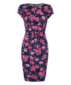 Look what I found on #zulily! Navy & Pink Rose Twist-Knot Dress by Iska London #zulilyfinds