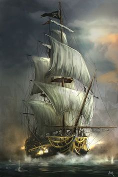 ArtStation – Last Battle, Reha Sakar ArtStation – Letzte Schlacht, Reha Sakar Pirate Art, Pirate Ships, Pirate Crafts, Old Sailing Ships, Ship Paintings, Bedroom Paintings, Wooden Ship, Ship Art, Tall Ships
