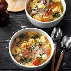 This is my favorite tortellini soup recipe. It's quick to fix on a busy night and full of healthy, tasty ingredients. It originally called for spicy sausage links, but I've found that turkey sausage, … Best Soup Recipes, Lunch Recipes, Healthy Dinner Recipes, Cooking Recipes, Favorite Recipes, Oven Recipes, Meal Recipes, What's Cooking, Healthy Cooking