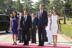 Los Reyes y el Presidente de Perú y su esposa, durante la interpretación del Himno de España Palacio Real de El Pardo. Madrid, 07.07.2015