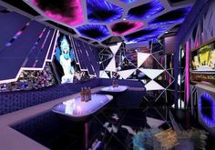 Gaming lounge, club lighting, galaxy theme, game room basement, nightclub d Ceiling Design, Wall Design, Gaming Lounge, Nightclub Design, Game Room Basement, Galaxy Theme, Club Lighting, Champagne Bar, Diy Entertainment Center