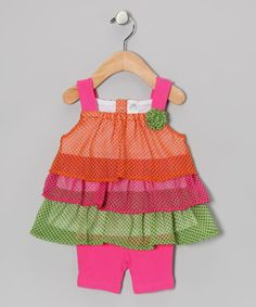 Take a look at this Pink & Green Neon Tiered Dress & Shorts by Baby Essentials on #zulily today!