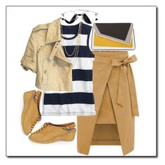 """Stripe T & Mustard"" by petalp ❤ liked on Polyvore featuring J.Crew, âme moi, Gorjana, By Malene Birger, ootd and stripedshirt"