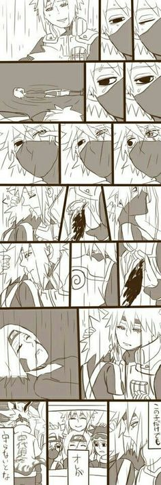 Minato, Kakashi, Rin, sad, Team Minato, Obito, crying, death, text, raining, comic, Fourth Hokage; Naruto