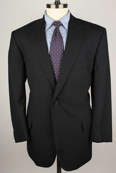 Brooks Brothers Black Modest Striped Wool 40 S mens Suit