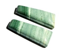Matched Pair Natural Green Agate Smooth by RareGemsNJewels on Etsy, $11.85