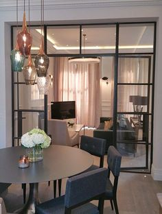 Create a stunning indoor screen with critical windows to boost light and aesthetic feel in your home. Crittal Doors, Crittall Windows, Living Room Designs, Living Spaces, Partition Door, House Extension Design, Internal Doors, Reception Rooms, Floor Design