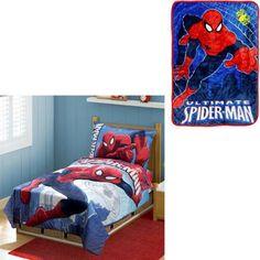 BONUS Blanket with Marvel Spiderman 4pc Toddler Bedding Set - Walmart.com