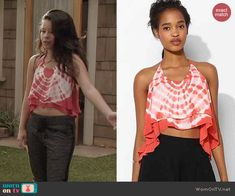 Mariana's red tie dyed crop top on The Fosters.  Outfit Details: http://wornontv.net/44250/ #TheFosters