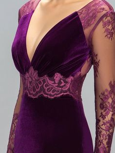 Velvet V-Neck Lace Split-Front Evening Dress Evening Dresses, Prom Dresses, Formal Dresses, Elegant Dresses, Beautiful Dresses, Tango Dress, Velvet Fashion, Blouse Designs, Designer Dresses
