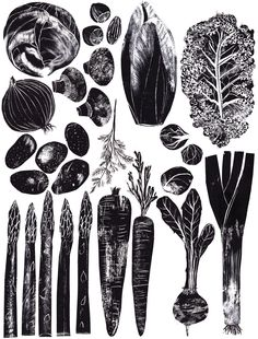 """Veg"" food print by Alice Pattullo, Illustrator. http://www.blogger.com/profile/04879547214195888306. Tags: Linocut, Cut, Print, Linoleum, Lino, Carving, Block, Woodcut, Helen Elstone, Vegetables."