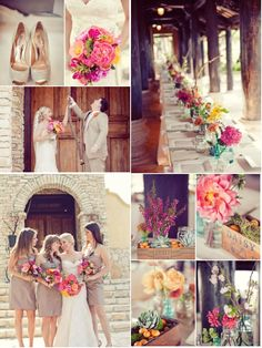 @Danielle Dorminey Riber - I like the color of these bridesmaids dresses and I think the bright flowers are pretty too.