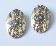 Whiting and Davis Victorian Revival Earrings Oval by PastSplendors