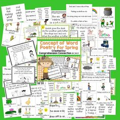 This product includes 13 poems for Spring. Each 4-line poem includes the poem written on sentence strips for a pocket chart, in 1/4 pages to teach the poem with pictures and to put in book form, a key vocabulary word list, a page in black and white for students to color and work with in guided reading, and a final page that can be projected or printed for students in color. Great for sightwords, letter recognition, fluency and COW.