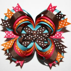 Fall Autumn Brown Orange Hot Pink Turquoise Stacked Boutique Hair Bow