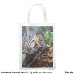 Shop Mountain Chipmunk Reusable Bag created by AeshnidaeAesthetics. Grocery Bags, Reusable Bags, Chipmunks, Mountain, Tote Bag, Carry Bag, Produce Bags, Tote Bags, Shopping Bags