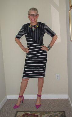 spring dresses | Two Take on Style. abstract navy & white stripes, with pops of color in the shoes and jewelry
