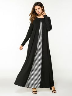 Modest Tunic Striped Oversized Trapeze Round Neck Long Sleeve Natural Black and White Maxi Length Stripe Contrast Full Length Dress Black Long Sleeve Dress, Long Sleeve Maxi, Maxi Dress With Sleeves, Sleeve Dresses, Dress Long, Dress Black, Abaya Fashion, Women's Fashion Dresses, Modest Fashion