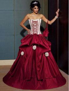 gothic corset red and white wedding dress   Corset Wedding Dresses ...