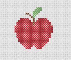 Apfel Vorlage Kreuzstich-Sticken oder als Norwegermuster in Stricksachen / chart apple cross stitch