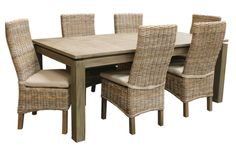 d910989d5c67 Borneo Rattan and Wood 7 Piece Rectangle Dining Set from Capris Furniture  Model 752 – Rattan