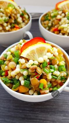 Green Lentil Salad with Couscous - Tam kararinda tam tadinda Green Lentil Salad, Green Lentils, Quinoa Salad, Bean Salad, Summer Corn Salad, Summer Salads, Pasta Salad Recipes, Healthy Salad Recipes, Health Soup Recipes