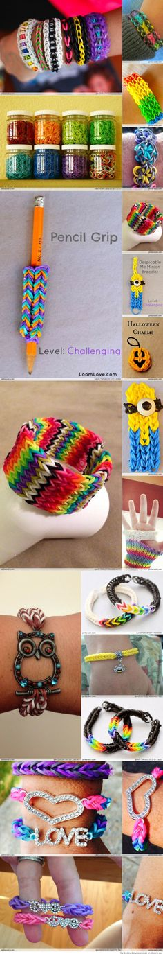 Amazing Rainbow Loom Ideas-need to show this to my niece...she loves looming! (I think it can be a verb too...)
