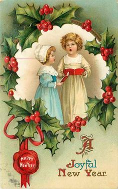 Vintage Joyful New Year card Vintage Happy New Year, Happy New Year Cards, New Year Greeting Cards, New Year Greetings, Vintage Greeting Cards, Vintage Postcards, Victorian Christmas, Vintage Christmas Cards, Vintage Holiday
