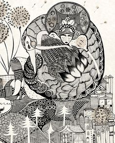 Ola Volo Yuko Shimizu, Love Illustration, Contemporary Artists, Mixed Media Art, Illustrators, Monochrome, Coloring Pages, Artsy, Sketches