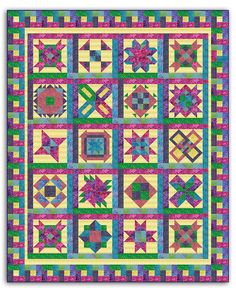 """The Batik Bright Hopes Sampler Kit features 17 different sampler blocks, and we've used more than 20 different Princess Mirah Batik Fabrics! Each block is framed with sashing, and this framing technique carries over to the Outer Border, giving the entire quilt-top a woven appearance.   Full Size Quilt (shown) -Measures 78"""" x 96"""" - 20 total blocks.   Backing for this option is $90.55."""