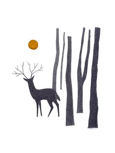 Original Drawing Original Art Pen And Ink Illustration Deer Forest Trees Detailed Artwork Stylised